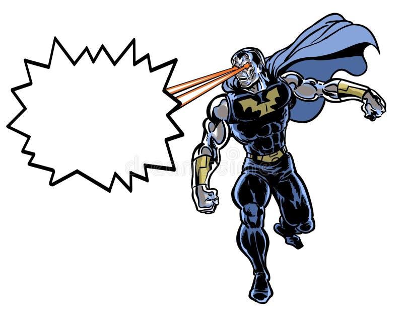 Homme incroyable illustré par bande dessinée avec des rayons laser illustration de vecteur