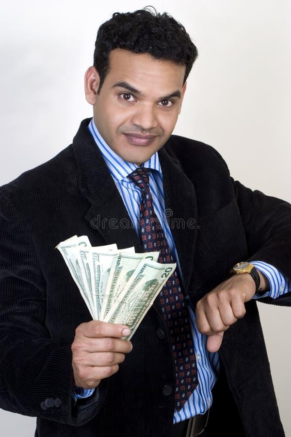 Homme indien réussi d'affaires avec de l'argent images libres de droits