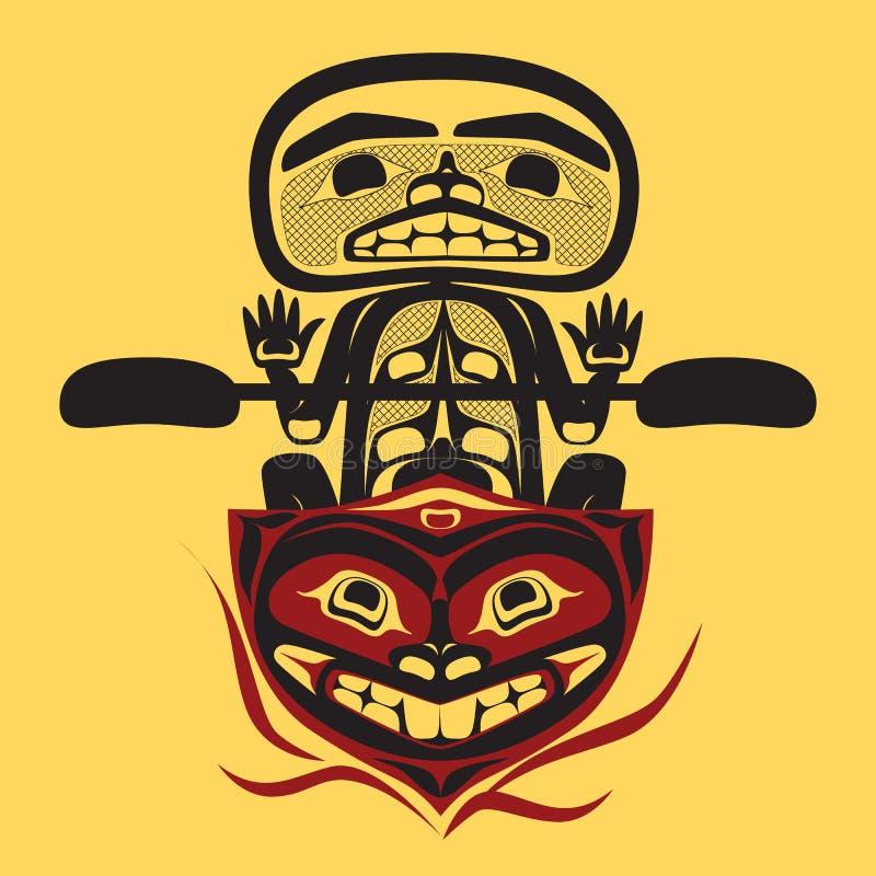 Homme indigène nord-américain de pêcheur de vecteur illustration stock