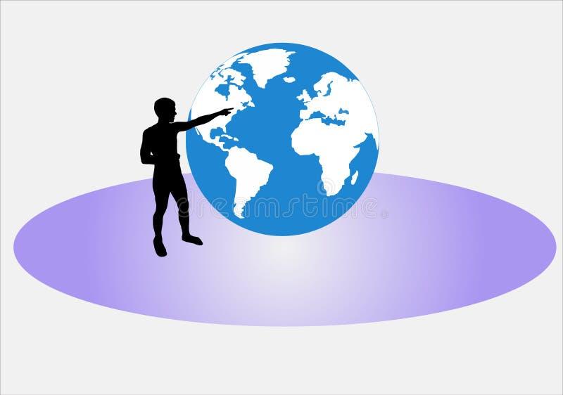 Homme indiquant le globe illustration de vecteur