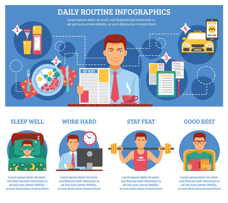 Homme Infographics courant quotidien illustration stock