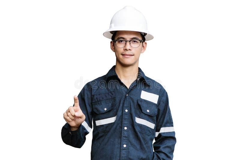 Homme, ingénieur ou technicien asiatique dans le casque, les verres et le bl blancs photo stock