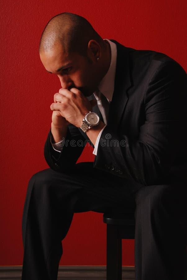 Homme inquiété d'affaires. photographie stock libre de droits