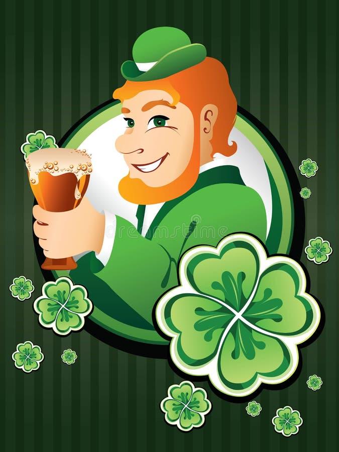 Homme irlandais avec de la bière illustration stock