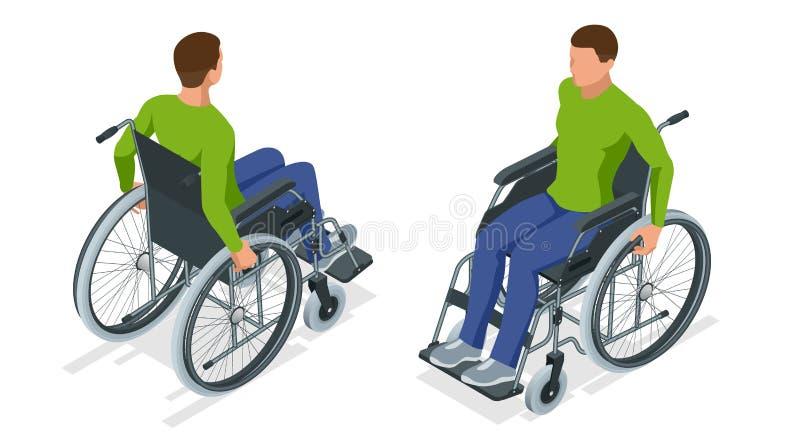 Homme isométrique dans un fauteuil roulant utilisant une rampe d'isolement Chaise avec des roues, utilisées quand la marche est d illustration de vecteur