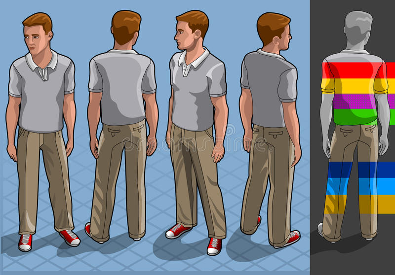 Homme isométrique de service en position quatre illustration de vecteur