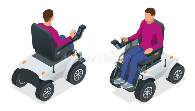 Homme isométrique sur un fauteuil roulant électrique Nouveau grand fauteuil roulant électrique motorisé Scooter mobile illustration libre de droits