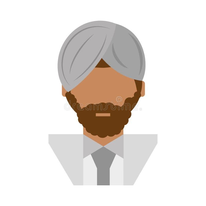 homme israélien de personnes avec l'icône de moustache illustration stock