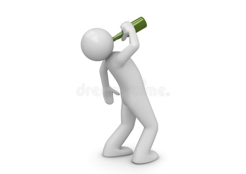Homme ivre avec la bouteille verte illustration libre de droits