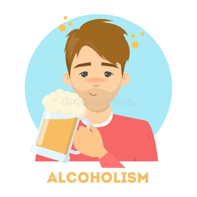 Homme ivre avec un alcoolisme tenant une tasse illustration libre de droits