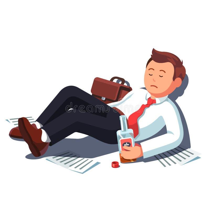 Homme ivre d'affaires se trouvant avec la bouteille d'alcool illustration libre de droits