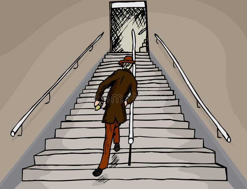 Homme ivre sur des escaliers illustration stock