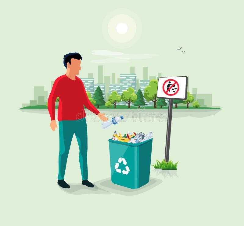 Homme jetant les déchets en plastique de bouteille dans la poubelle de déchets illustration de vecteur