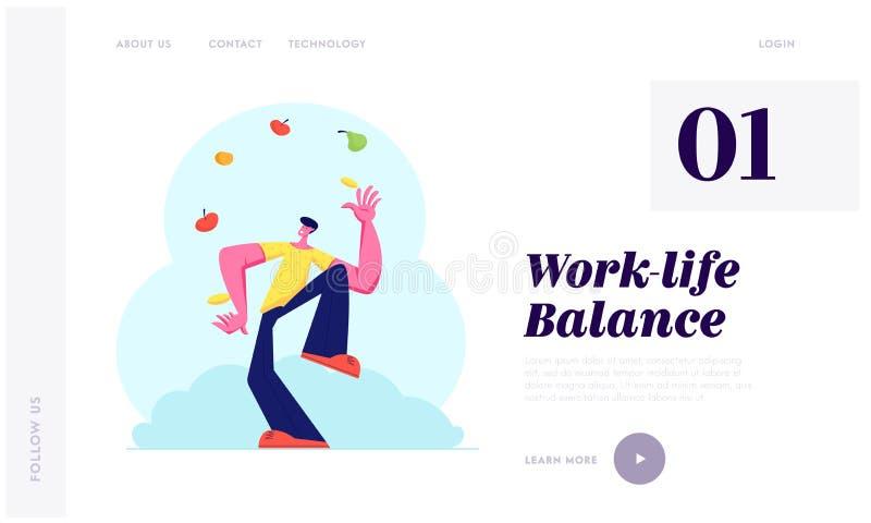Homme jonglant avec différents fruits et légumes Produits végétariens de Throwing Up Healthy de jongleur, vitamines, nourriture d illustration de vecteur