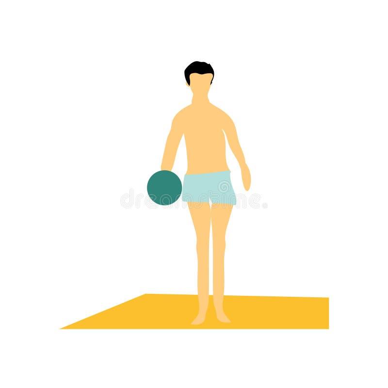 Homme jouant la boule sur le signe et le symbole de vecteur de vecteur de plage d'isolement sur le fond blanc, homme jouant la bo illustration libre de droits