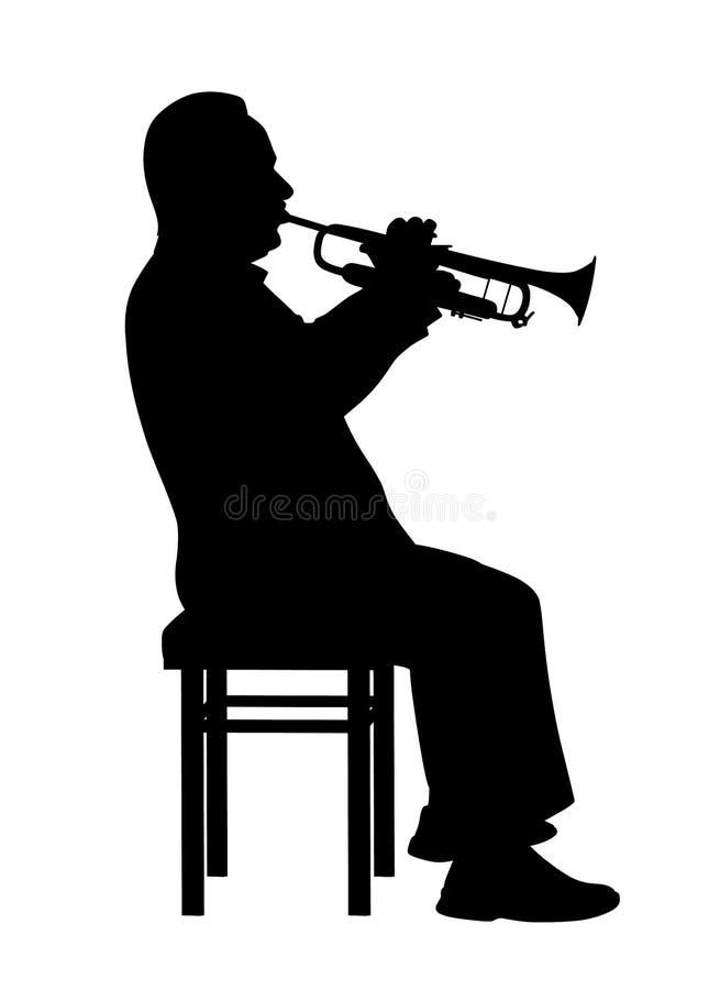 Homme jouant la trompette illustration libre de droits