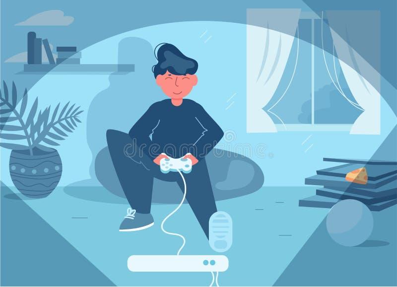 Homme jouant le vecteur de jeu vid?o cartoon Art d'isolement plat illustration libre de droits