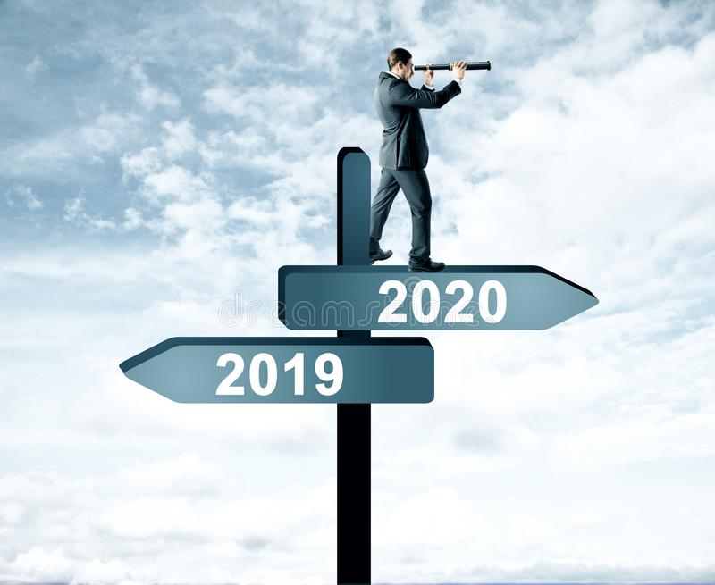 Homme le 2019, signe 2020 image stock