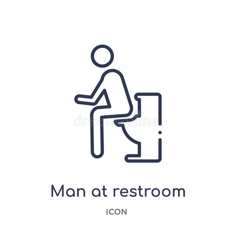 Homme linéaire à l'icône de toilettes de la collection d'ensemble de comportement Ligne homme mince au vecteur de toilettes d'iso illustration libre de droits