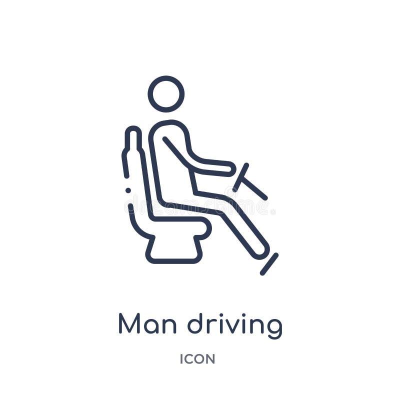 Homme linéaire conduisant l'icône par la collection d'ensemble de comportement Ligne homme mince conduisant le vecteur d'isolemen illustration de vecteur