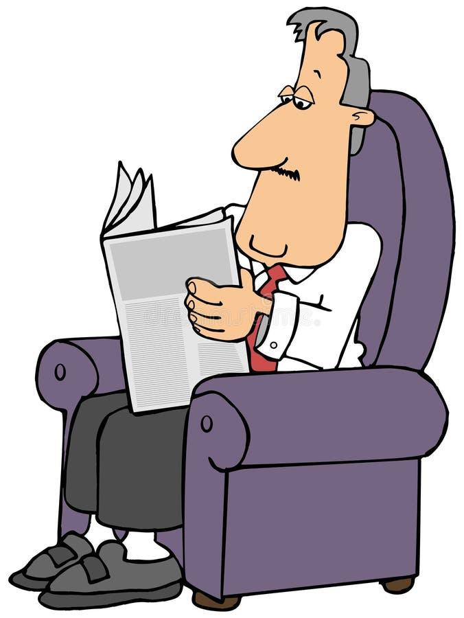 Homme lisant un journal tout en se reposant dans un fauteuil illustration de vecteur