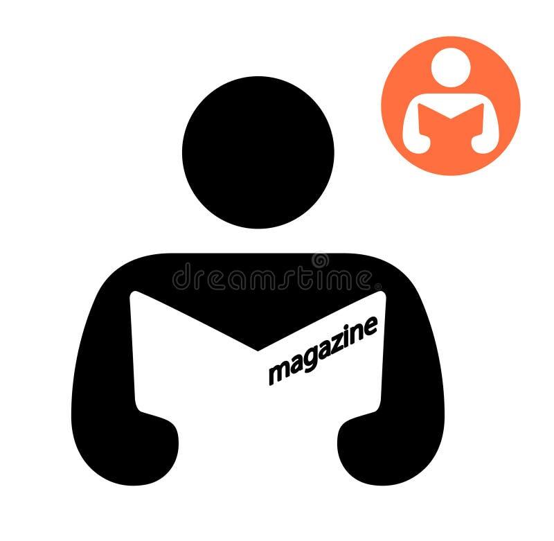 Homme lisant une icône de magazine illustration libre de droits