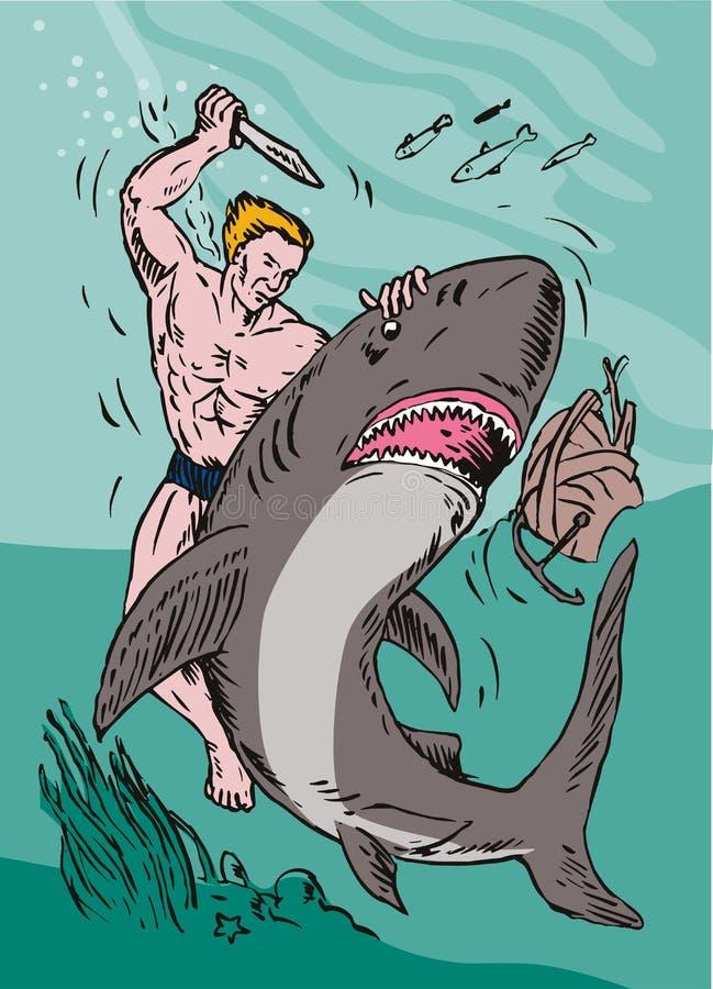 Homme luttant avec le requin illustration stock