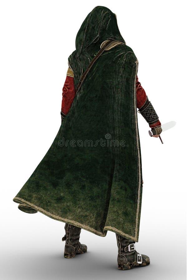 Homme médiéval avec le dos vers la caméra d'isolement illustration libre de droits
