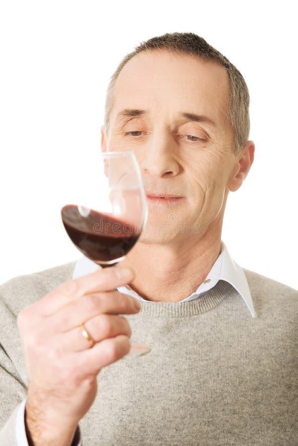 Homme mûr goûtant le vin rouge photos stock