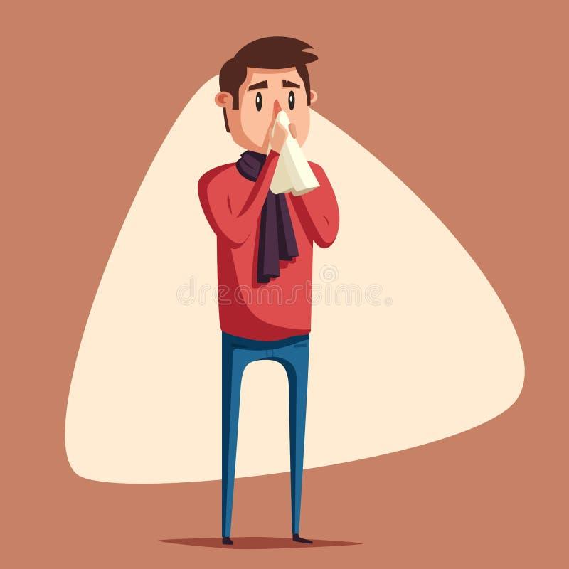 Homme malade Caractère malheureux Illustration de dessin animé de vecteur illustration stock