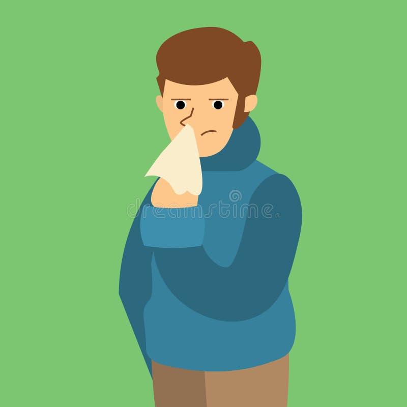 Homme malade de grippe de bande dessinée Vecteur illustration stock