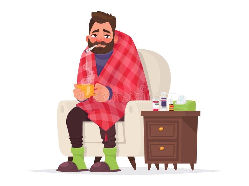 Homme malade Grippe, la maladie virale Illustration de vecteur illustration de vecteur