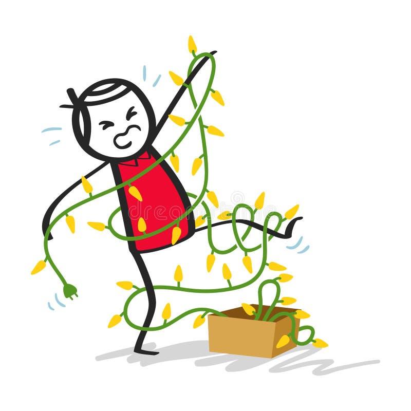 Homme maladroit de bâton dans la chemise rouge embrouillée dans des lumières de Noël illustration stock