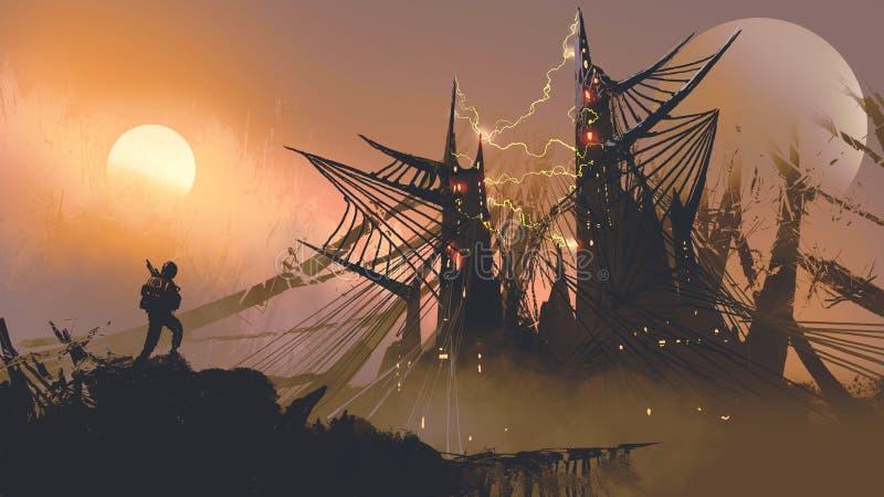 Homme marchant aux châteaux de toile d'araignée illustration libre de droits