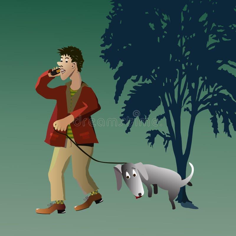 Homme marchant avec son crabot photo libre de droits