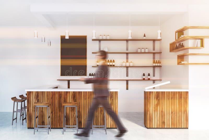 Homme marchant dans l'intérieur en bois de barre illustration de vecteur