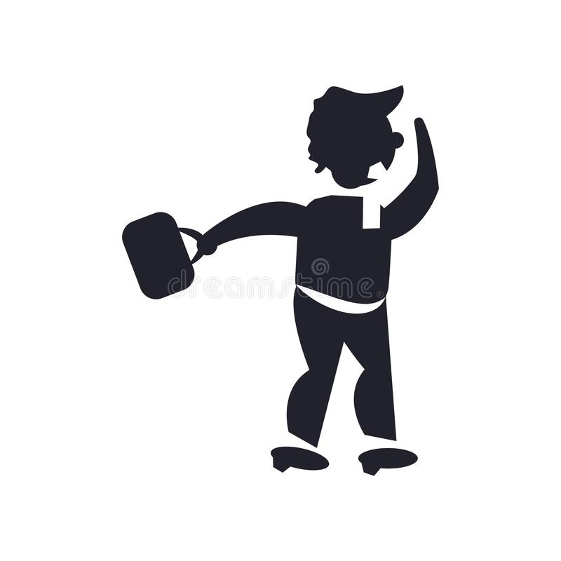 Homme marchant par l'isolat de signe et de symbole d'icône de vent illustration stock