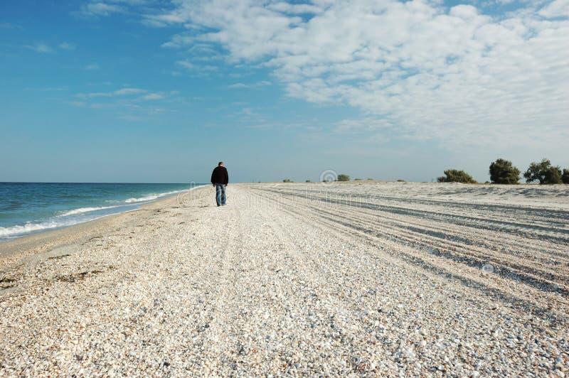 Homme marchant sur l'île inhabitée photographie stock