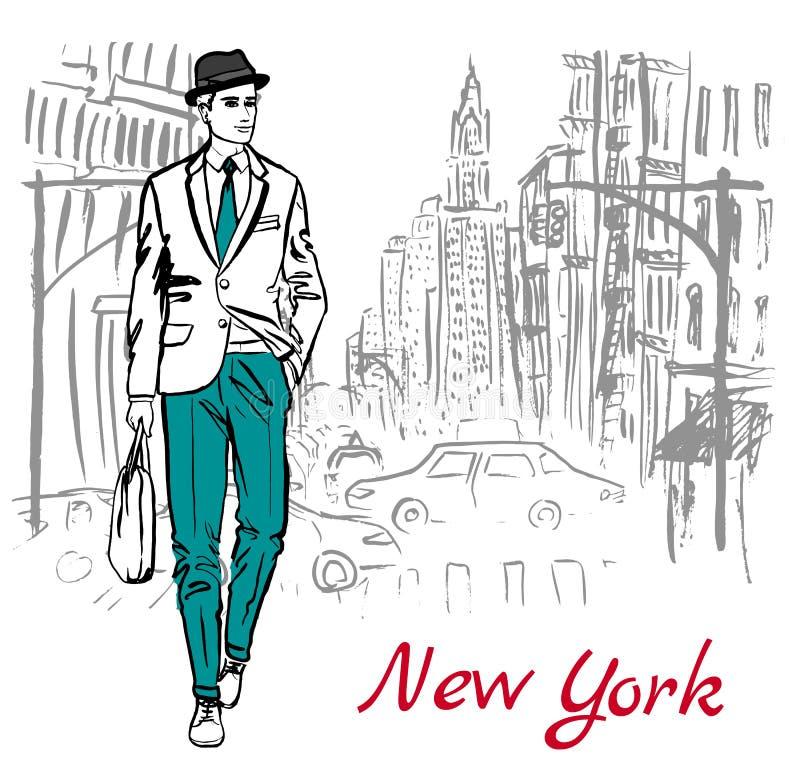 Homme marchant sur la rue illustration de vecteur