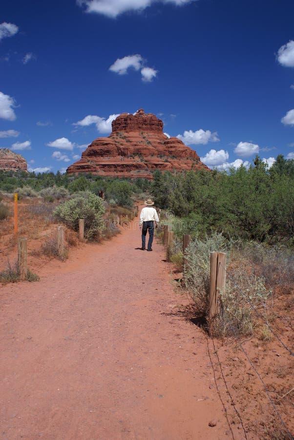 Homme marchant sur le journal de montagne photographie stock libre de droits