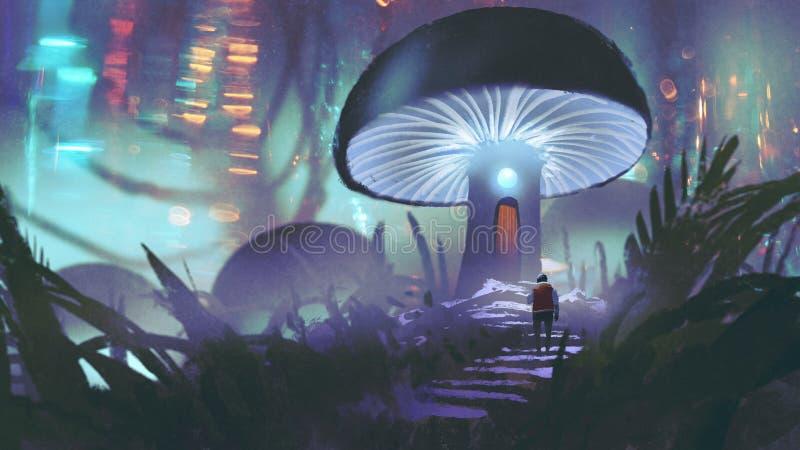 Homme marchant vers la maison de champignon illustration de vecteur