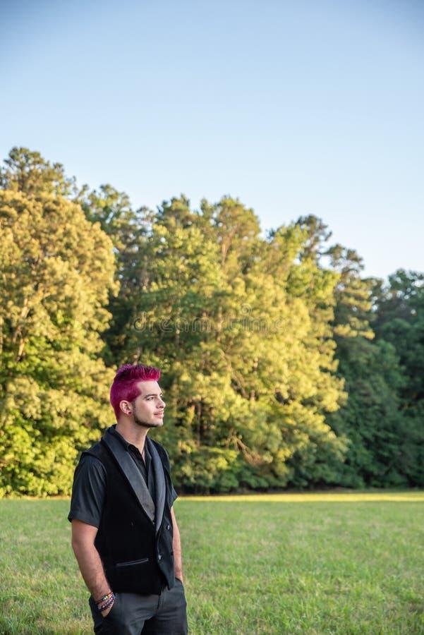 Homme masculin blanc alternatif avec les cheveux roses regardant fixement dans la distance, contemplative photos libres de droits