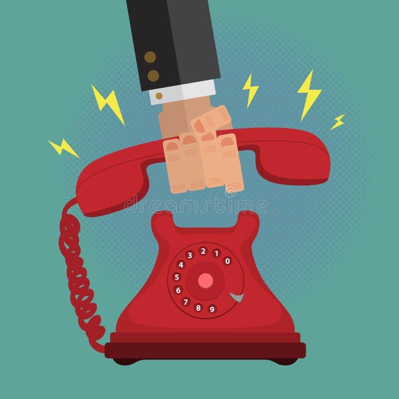 Homme masculin d'affaires prenant appel téléphonique de vintage de cadran un rétro illustration libre de droits