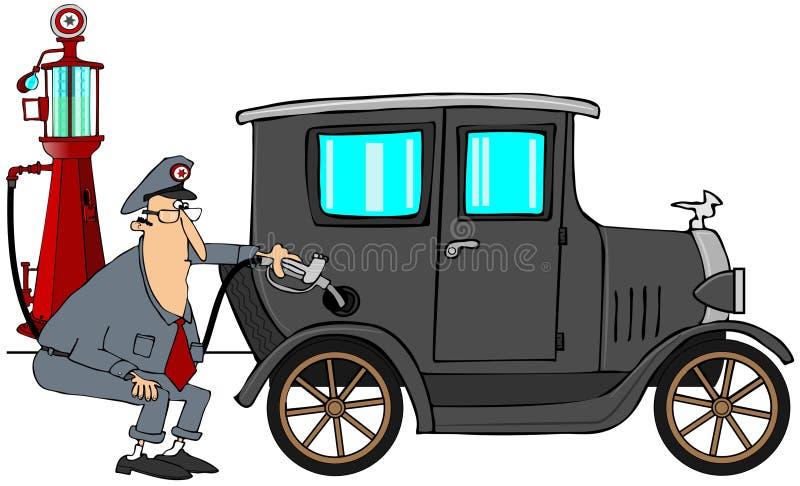 Homme mettant le gaz dans la voiture ancienne illustration libre de droits