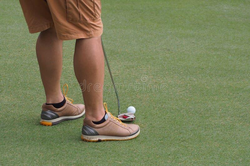 Homme mettant une boule de golf image stock