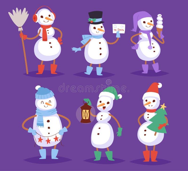 Homme mignon de caractère de Noël d'hiver de bande dessinée de vecteur de bonhomme de neige illustration de vecteur