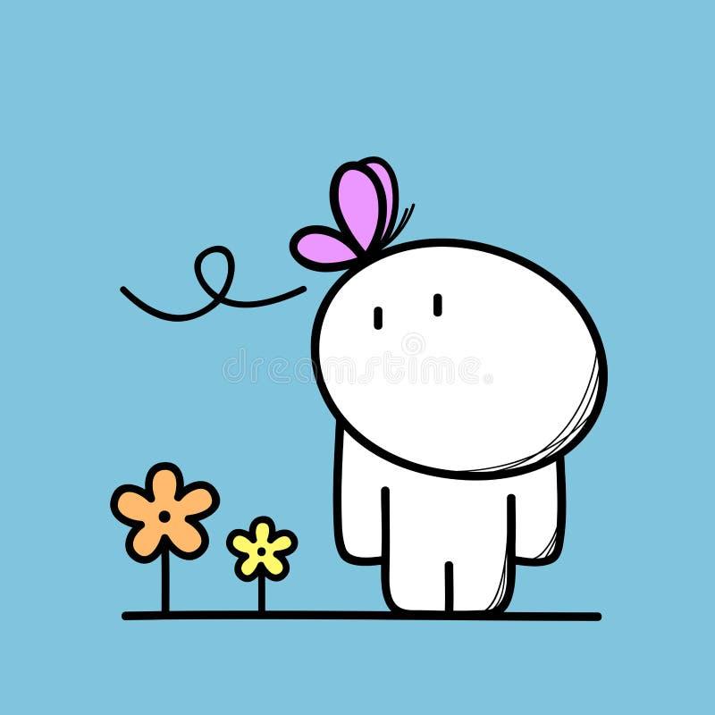 Homme mignon et un papillon illustration stock