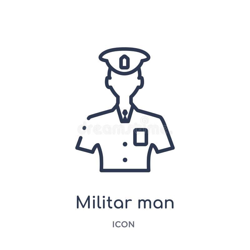 Homme militar linéaire avec l'icône de protection de la collection d'ensemble d'armée Ligne mince homme militar avec le vecteur d illustration de vecteur