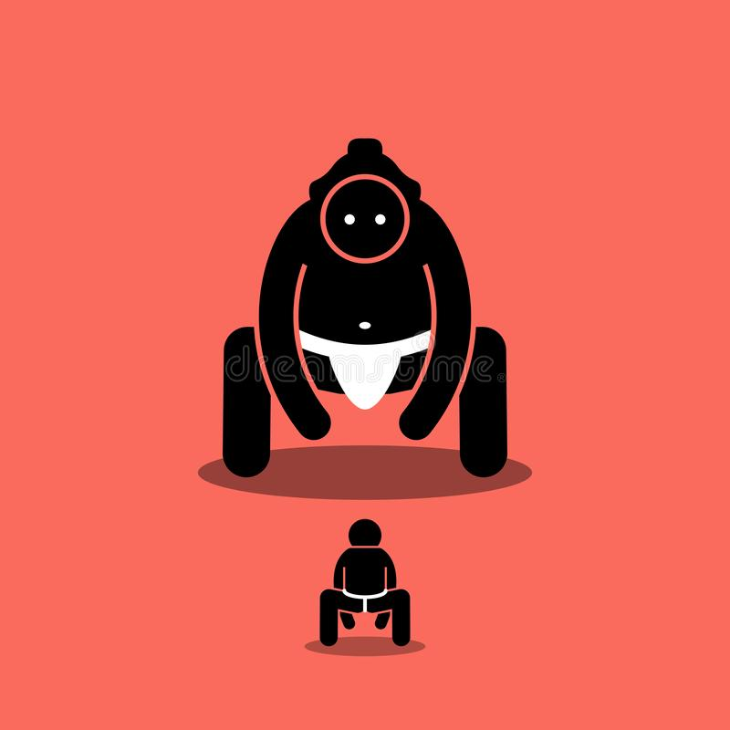 Homme minuscule contre le grand combattant japonais de sumo illustration stock