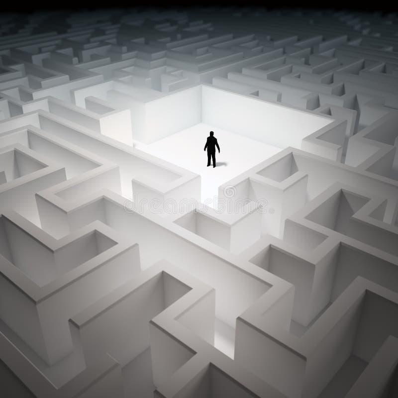 Homme minuscule dans un labyrinthe sans fin illustration libre de droits